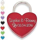 Liebesschloss Herzschloss rot mit Gravur und Schlüssel (Vorderseite, rot)