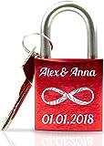 Geschenkfreude ABUS personalisiertes Liebesschloss mit Gravur und Schlüssel...