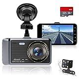 Abask Dashcam Auto Vorne und Hinten Autokamera mit 32 GB SD-Karte, 4 Zoll Full...