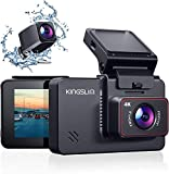 Kingslim 4K Dual Dashcam mit WiFi GPS, vordere 4K/2.5K hintere 1080P Autokamera,...